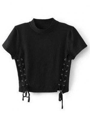 Crew Neck Knit Lace-up Crop Top