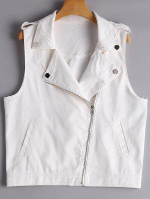Asymmetric Zipper Denim Waistcoat