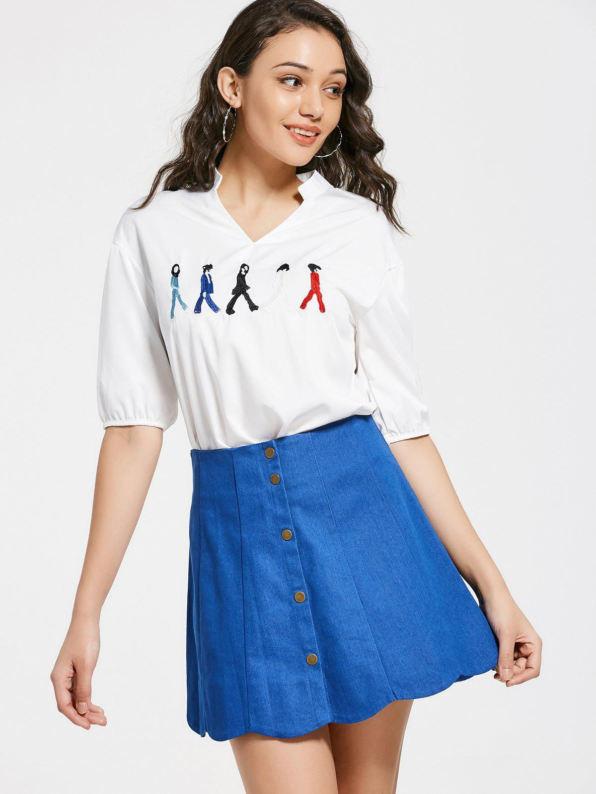 V Neck Figure Embroidered Patch Blouse 222193502