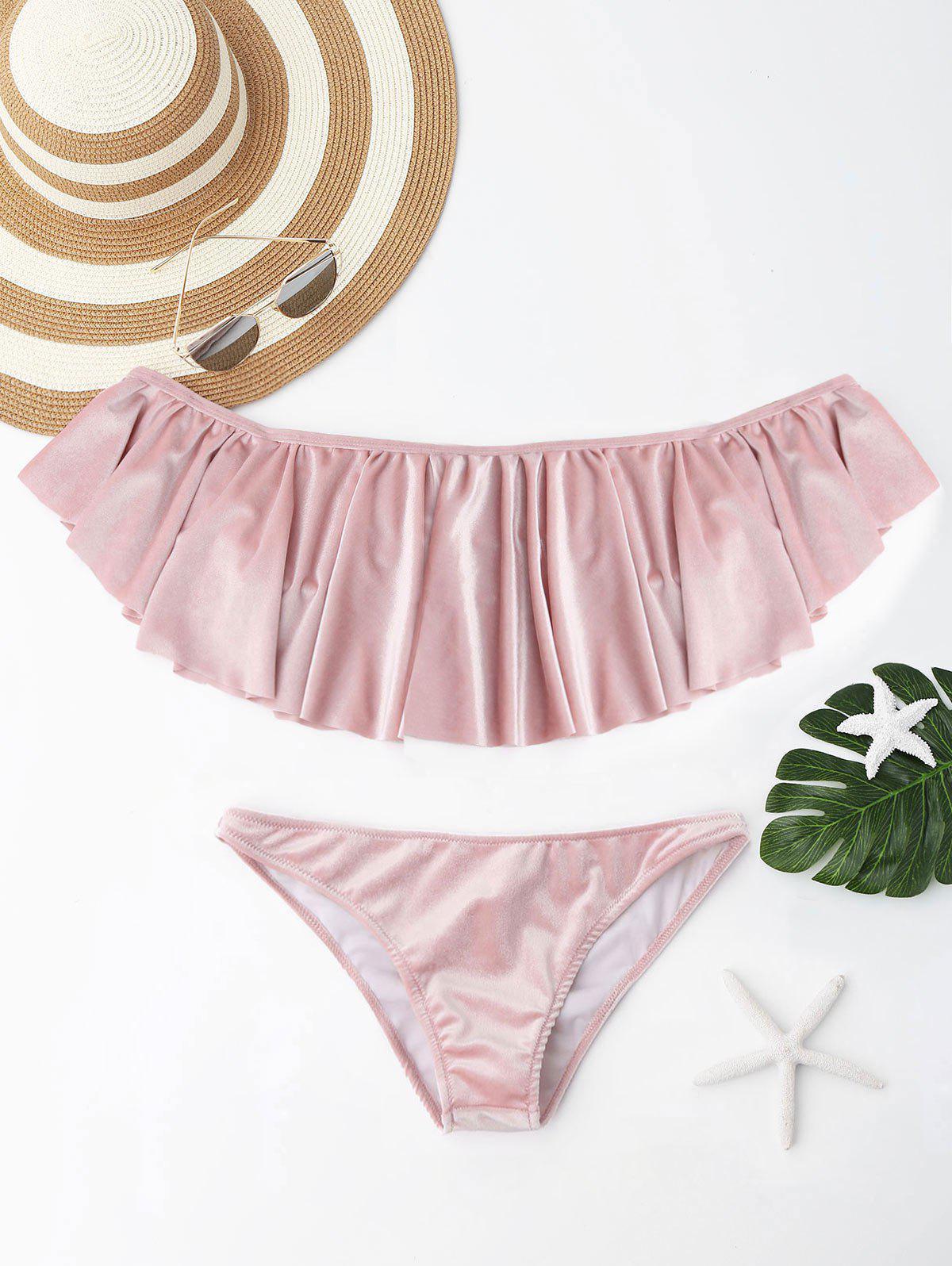 Velvet Ruffle Off The Shoulder Bikini Set 225505801