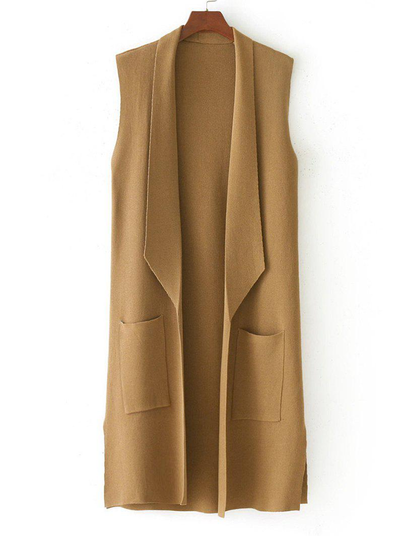 Side Slit Knitted Open Front Waistcoat - KHAKI ONE SIZE