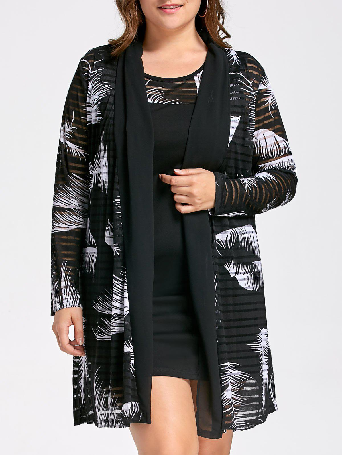 Plus Size Tank Dress with Long Mesh Sheer Cardigan 224463706