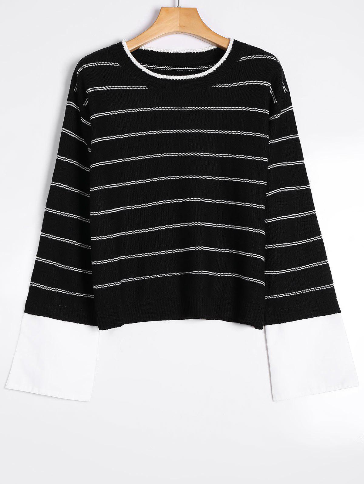 Pull Rayé à Motif Manches Chemises