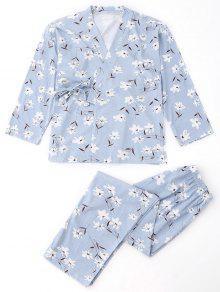 Combinaison En Pyjama Pour Kimono Et Pantalons Floraux - Bleu Clair S