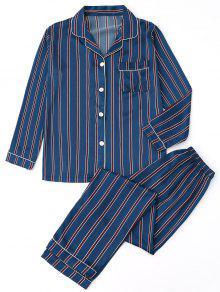 Satén Camisa A Rayas Con Pantalones Pijamas - Raya S