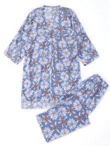 Kimono Floral Y Cami Top Y Pantalones Pijama - Floral Xl