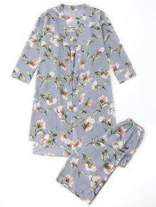 منامة الأزهار كيمونو وكامي الأعلى والسراويل - ازرق رمادي L