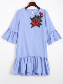Mini Robe Droite Brodée Florale à Volants - Bleu Clair Xl
