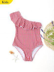 ملابس السباحة منقوش بكتف واحد للأطفال - أحمر Thu
