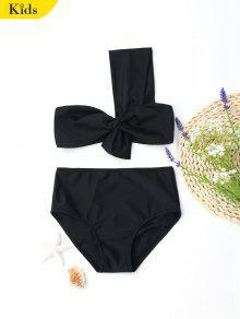 بدلة السباحة بشريط واحد للأطفال - أسود 4t