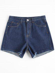 Short à Taille Haute Jean Shorts - Denim Bleu L