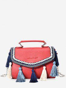 حقيبة كروسبودي من الجلد مزينة بشرابات مع سلسال - أحمر