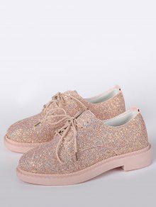 ... Low Top Glitter Tie Up Flat Shoes ...