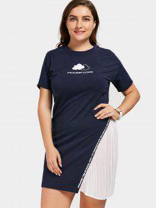 Vestido De T-shirt De Talla Grande - Teal 5xl