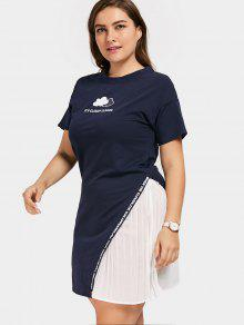 2f79b066e13 33% OFF  2019 Plus Size Graphic T-shirt Dress In CADETBLUE