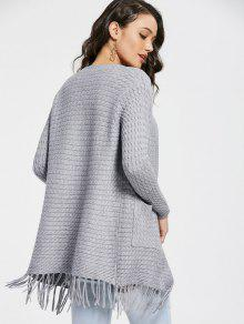 Fringe Cable Knit Cardigan GRAY: Sweaters ONE SIZE | ZAFUL