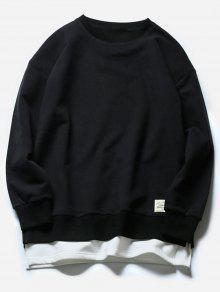 Cuello De Equipo Faux Twinset Color Block Fleece Sudadera - Negro L