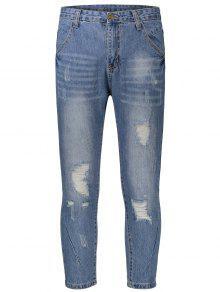 Pantalones Vaqueros Rasgados - Denim Blue 32