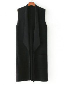 Buy Side Slit Knitted Open Front Waistcoat - BLACK ONE SIZE