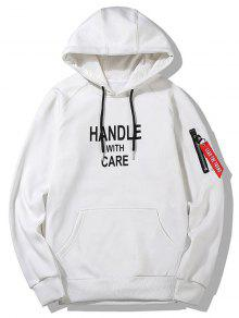 Handle With Care هودي مرسوم طباعة  - أبيض L