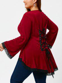 T-shirt à Lacets Haut Bas Taille - Rouge 4xl