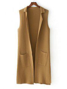 Buy Side Slit Knitting Open Front Waistcoat - KHAKI ONE SIZE