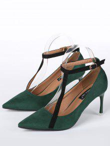 3ab45826037b 34% OFF  2019 Pointed Toe Ankle Strap Mini Heel Pumps In GREEN