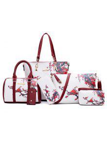 6 قطع الزهور طباعة حقيبة الكتف مجموعة - أبيض