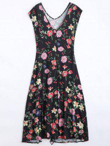Zurück Schlitz Rüschen Blumen Maxi Kleid - Schwarz M
