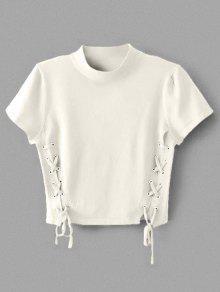 Cuello De Cuello Redondo Con Cordones - Blanco S