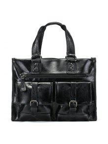 مزدوجة مشبك الأشرطة فو الجلود حقيبة حمل - أسود