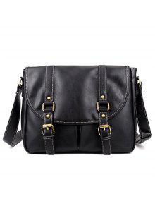 حقيبة الرسالة بجلد اصطناعي شريط - أسود