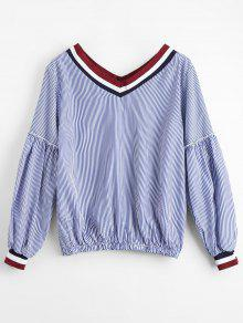 Striped V Neck Casual Blouse