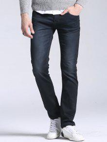 جينز مستقيم الساق بسحاب - أسود 38