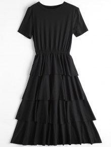 Vestido De Cuello Redondo Con Capas - Negro M