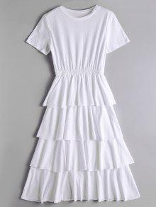 Buy Round Collar Layered Dress - WHITE S