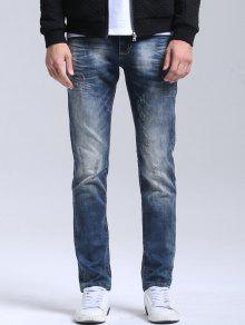 Buy Zipper Fly Vintage Straight Jeans - BLUE 38