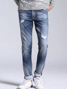 جينز مستقيم بسحاب كلاسيكي ممزق - الضوء الأزرق 34