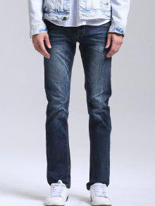 Buy Zipper Fly Men Straight Jeans - DEEP BLUE 38