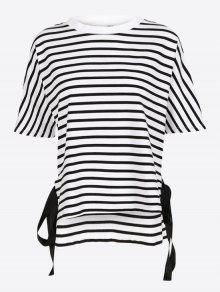 T-shirt Listrado Com Laço Lateral - Listras S