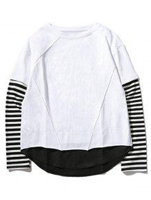 Equipo Cuello Raya Del Camiseta De Del La 2xl Blanco Panel De YqP8I