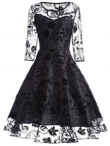 فستان دانتيل كلاسيكي - أسود S
