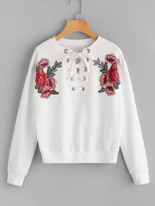 Sweat-shirt Patché Floral à Lacets  - Blanc S