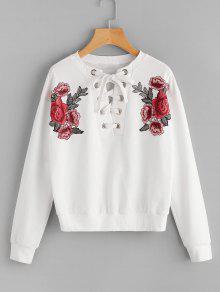 Sweat-shirt Patché Floral à Lacets  - Blanc M