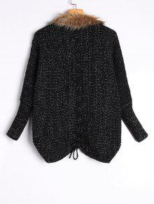79bce20072fa7 ... Faux Fur Trimmed Cable Knit Cardigan ...