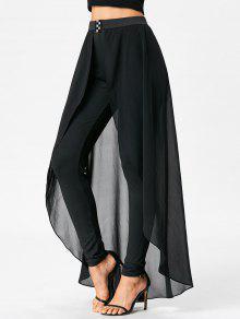 عالية الخصر السراويل التخسيس مع تنورة - أسود L