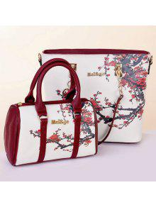 3a1b372acee2 41% OFF  2019 6 Pieces Floral Print Shoulder Bag Set In WHITE