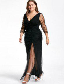 31% OFF] 2019 Plus Size Ruched Sheer Formal Dress In BLACK | ZAFUL