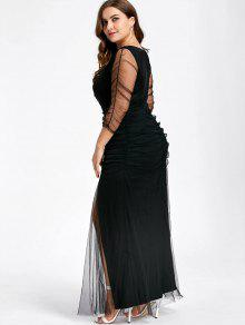Plus Size Ruched Sheer Formal Dress BLACK: Plus Size Dresses 5XL ...