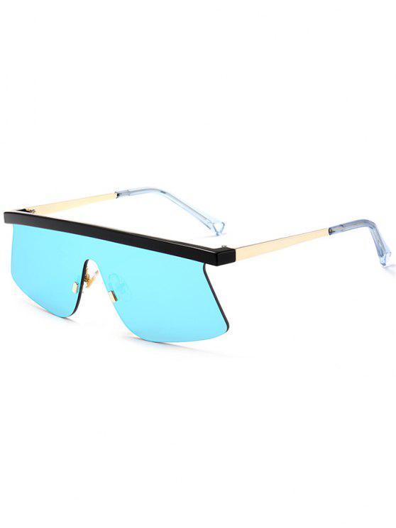 Semi Rimless Schild Spiegel Sonnenbrille - eisblau